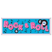 "Beistle Rock and Roll Sign Banner, 5' x 21"", 3/Pack"