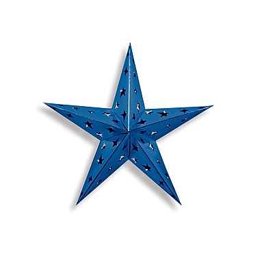 Dimensional Foil Star, Blue, 4/Pack