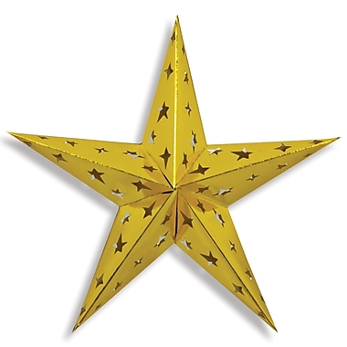 Dimensional Foil Star, Gold, 3/Pack