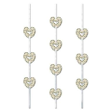 Banderoles ruban cœurs, 4 pi, paquet de 15