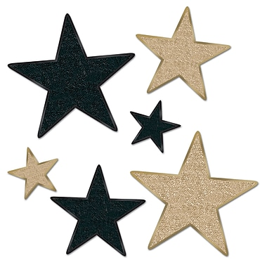 Beistle Assorted Glittered Star Cutouts, Black/Gold, 12/Pack