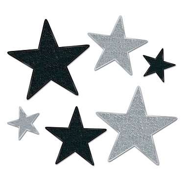 Beistle Assorted Glittered Star Cutouts, Black/Silver, 12/Pack