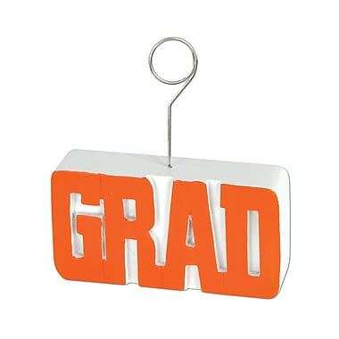 Grad Photo/Balloon Holder, 6 Ounces, Orange, 3/Pack