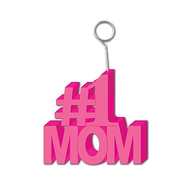 #1 Mom Photo/Balloon Holder, Each Photo/Balloon Weight Is 6 Ounces, 3/Pack