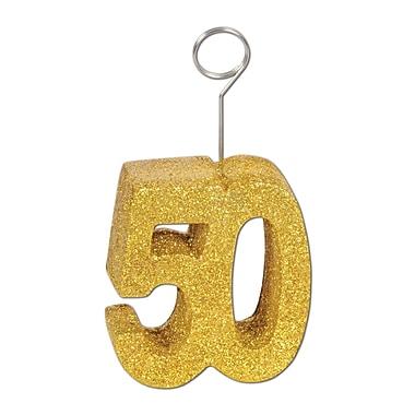 Porte-ballons/photo « 50 » doré brillant, 6 oz, paquet de 3