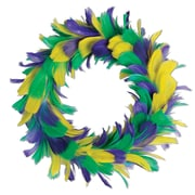 Beistle 12 Feather Wreath, Golden-Yellow/Green/Purple