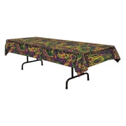 """Beistle 54"""" x 108"""" Mardi Gras Beads Tablecover, Green/Gold/Purple, 2/Pack"""