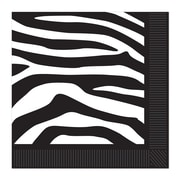 "Beistle 6 1/2"" x 6 1/2"" Zebra Print Luncheon Napkins, Black/White, 48/Pack"