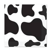 "Beistle 6 1/2"" x 6 1/2"" Cow Print Luncheon Napkins, White/Black, 48/Pack"