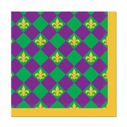 Beistle 5 x 5 Mardi Gras Beverage Napkins, Purple/Gold/Green, 64/Pack