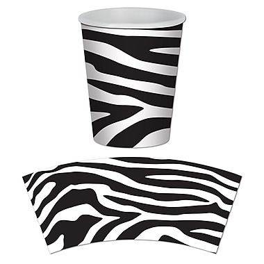Zebra Print Beverage Cups, 9 Ounces, 24/Pack