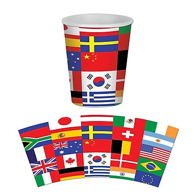 International Flag Beverage Cups, Holds 9 Ounces, 24/Pack