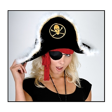 Plush Pirate Captain's Hat for Adults, One Size Fits Most