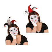 Beistle Adjustable Jester Headband, Black/Red/Silver/White