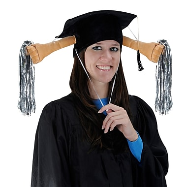 Beistle Plush Graduation Shaker Cap With Drawstring, One Size, Black