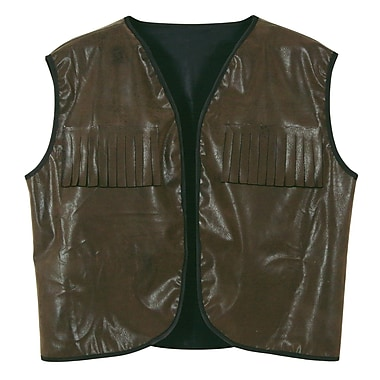 Faux Brown Leather Cowboy Vest With Fringe, One Size Fits Most