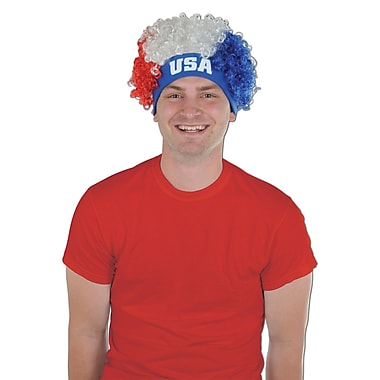Beistle Adjustable USA Wig, Red/White/Blue