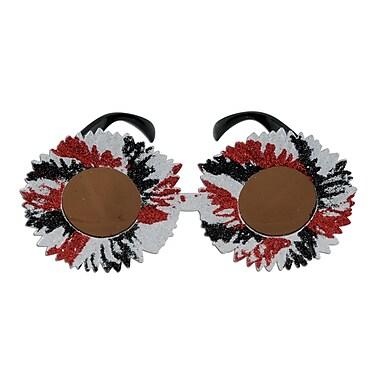 Beistle Adjustable Glittered Sunburst Fanci-Frame, Red/Black/Silver