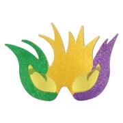 Beistle Adjustable Glittered Mardi Gras Mask Fanci-Frame, Gold/Green/Purple