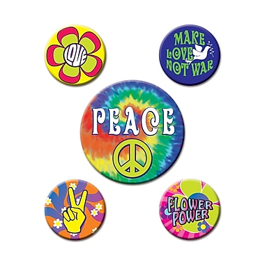 Beistle 60s Party Buttons, 2 1/3