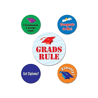 Insignes de fête de remise des diplômes, 2 1/3 x 1 1/3 po, paquet de 15