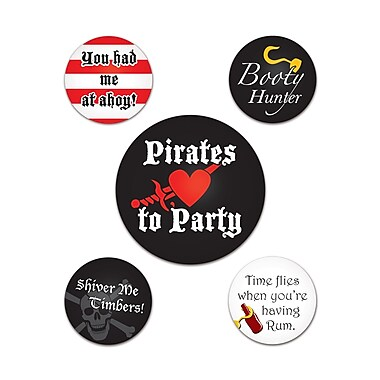 Badges festifs pirate, 2 1/3 et 1 1/3 po, 15/paquet