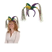 Beistle Adjustable Jester Headband With Tassels, Green/Gold/Purple