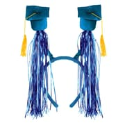 Beistle Adjustable Grad Cap With Fringe Boppers, Blue/Gold