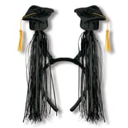 Beistle Adjustable Grad Cap With Fringe Boppers, Black/Gold