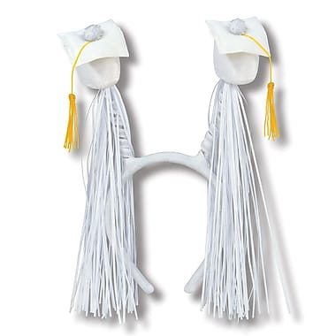 Beistle Adjustable Grad Cap With Fringe Boppers, White/Gold