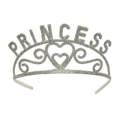 Diadème de princesse en métal scintillant, taille unique, argenté