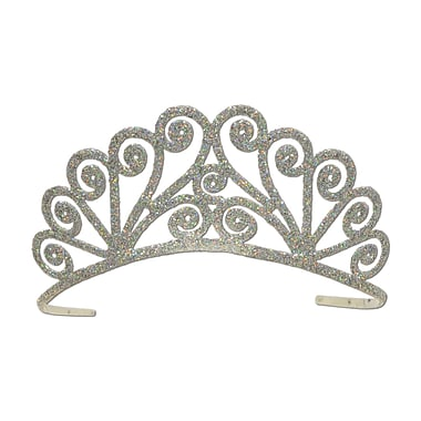 Glittered Metal Tiara, One Size Fits Most, Silver