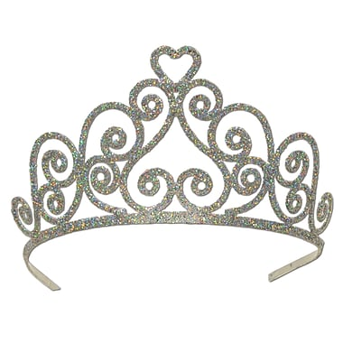 Heart Silver Glittered Metal Tiara, One Size Fits Most