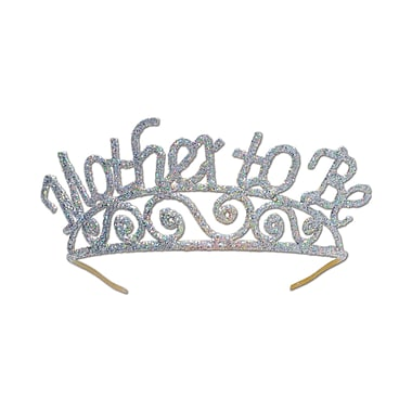 Glittered Metal Mother To Be Tiara, One Size Fits Most