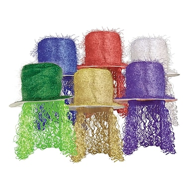 Tinsel Top Hat with Curly Wig, One Size Fits Most, Multi-colour, 6/Pack