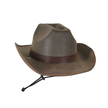 Faux Brown Leather Western Hat, One Size Fits Most