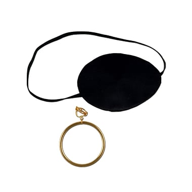 Pirate Eye Patch With Plastic Earring, 2-1/2