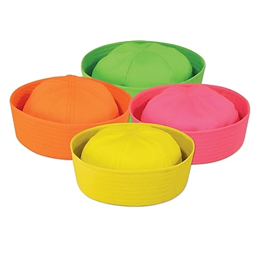Neon Sailor Hats, One Size Fits Most, 12/Pack