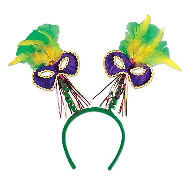 Mardi Gras Mask With Feathers Boppers, One Size Fits Most, 2/Pack