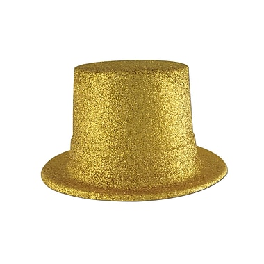 Glittered Top Hat, One Size Fits Most, Gold, 2/Pack
