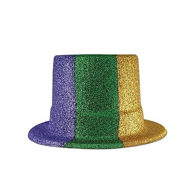 Glittered Mardi Gras Top Hat, One Size Fits Most, Green/Gold/Purple, 2/Pack