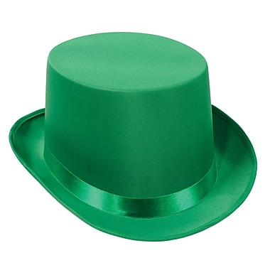 Satin Sleek Top Hat, One Size Fits Most, Green, 2/Pack