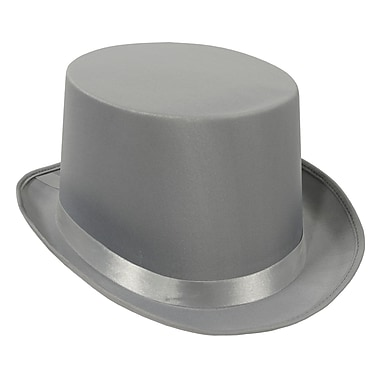 Satin Sleek Top Hat, One Size Fits Most, Gray, 2/Pack
