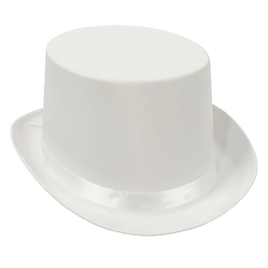 Satin Sleek Top Hat, One Size Fits Most, White, 2/Pack