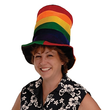 Plush Rainbow Stovepipe Hat, One Size Fits Most, 2/Pack