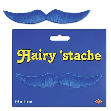 Moustache poilue, 5 1/2 po, bleu, pqt/9