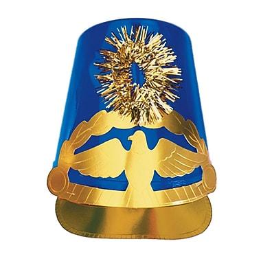 Chapeau de tambour-major en plastique, taille unique convenant à la plupart, bleu, pqt/4