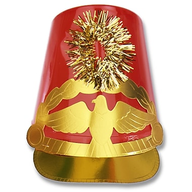 Chapeau de tambour-major en plastique, taille unique convenant à la plupart, rouge, pqt/4