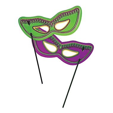 Plastic Mardi Gras Masks With Black Stick, One Size Fits Most, Green/Purple, 24/Pack