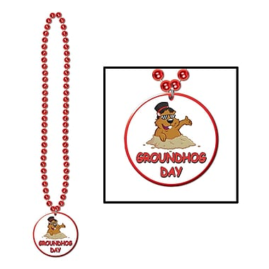 Beistle Beads Necklace With Groundhog Day Medallion, 33